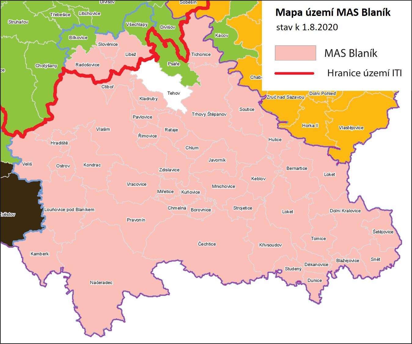 Mapa území Místní akční skupiny Blaník